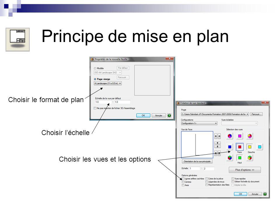 Ecran de mise en plan « Alibre Design Xpress » Explorateur plan Menu de visualisation Modification de la mise en plan et Complément s dindications