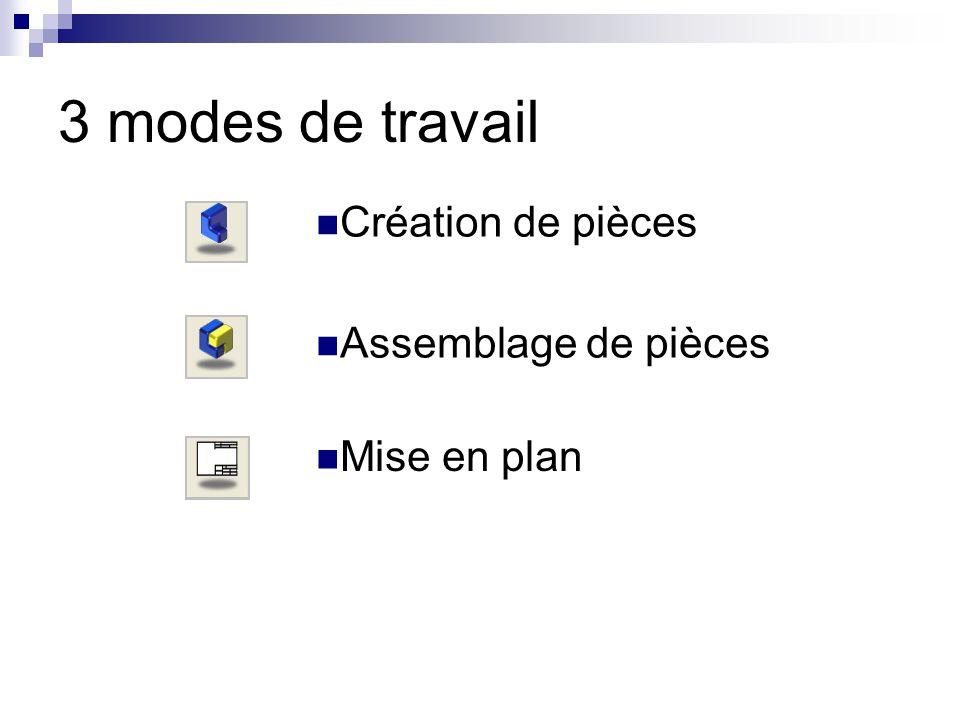 3 modes de travail Mise en plan Assemblage de pièces Création de pièces
