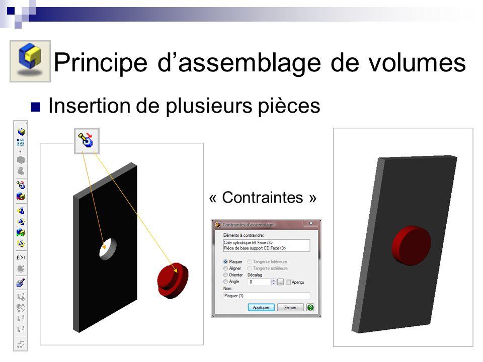 Insertion de plusieurs pièces Principe dassemblage de volumes « Contraintes »