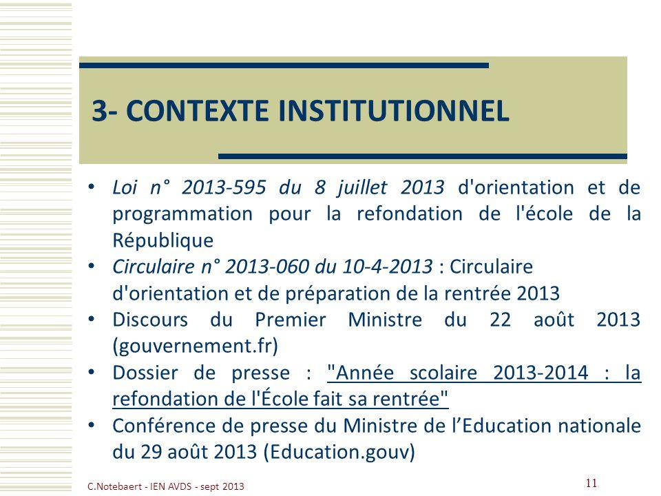 3- CONTEXTE INSTITUTIONNEL Loi n° 2013-595 du 8 juillet 2013 d'orientation et de programmation pour la refondation de l'école de la République Circula