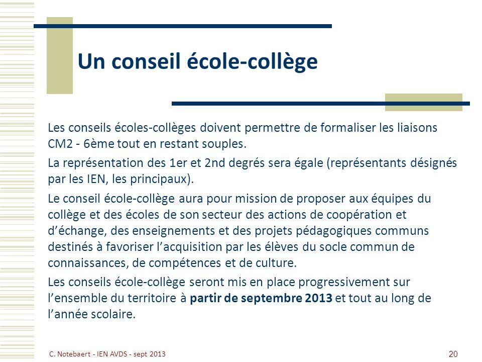 Un conseil école-collège Les conseils écoles-collèges doivent permettre de formaliser les liaisons CM2 - 6ème tout en restant souples. La représentati