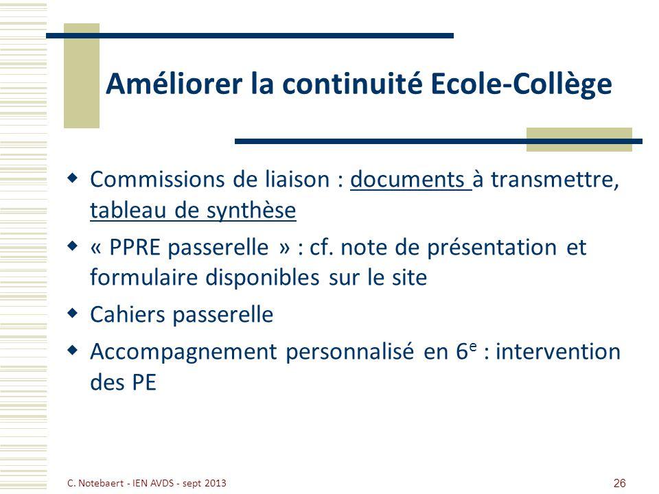 26 Améliorer la continuité Ecole-Collège Commissions de liaison : documents à transmettre, tableau de synthèsedocuments tableau de synthèse « PPRE pas