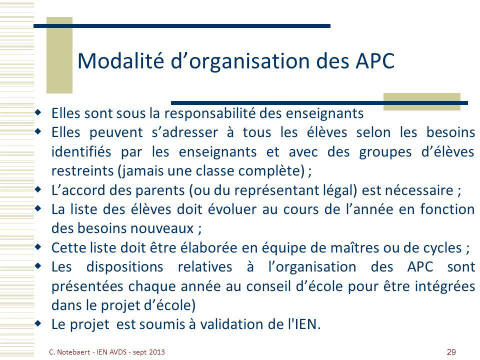 Modalité dorganisation des APC Elles sont sous la responsabilité des enseignants Elles peuvent sadresser à tous les élèves selon les besoins identifié