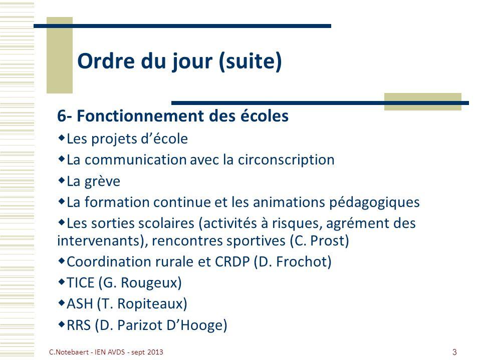 C.Notebaert - IEN AVDS - sept 2013 3 Ordre du jour (suite) 6- Fonctionnement des écoles Les projets décole La communication avec la circonscription La