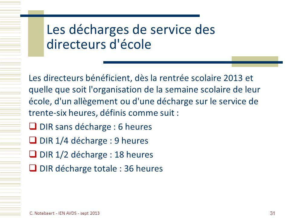 Les décharges de service des directeurs d'école Les directeurs bénéficient, dès la rentrée scolaire 2013 et quelle que soit l'organisation de la semai