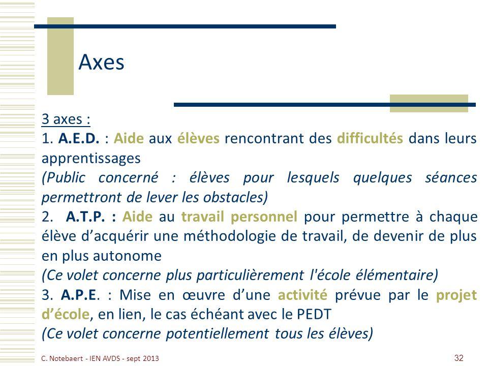 Axes 3 axes : 1. A.E.D. : Aide aux élèves rencontrant des difficultés dans leurs apprentissages (Public concerné : élèves pour lesquels quelques séanc