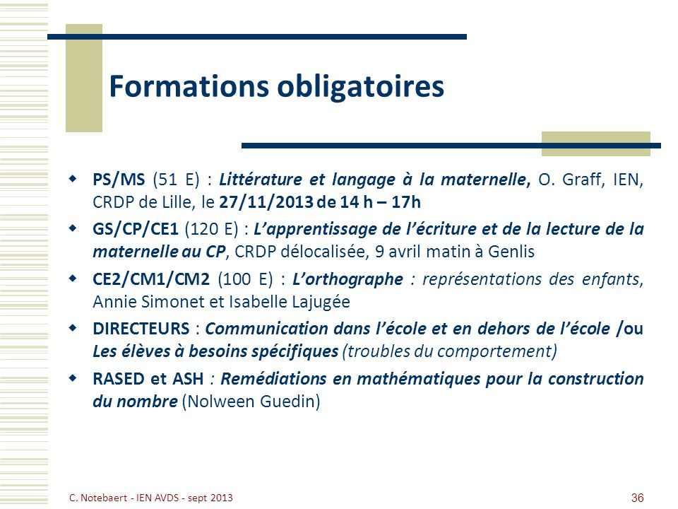 Formations obligatoires PS/MS (51 E) : Littérature et langage à la maternelle, O. Graff, IEN, CRDP de Lille, le 27/11/2013 de 14 h – 17h GS/CP/CE1 (12