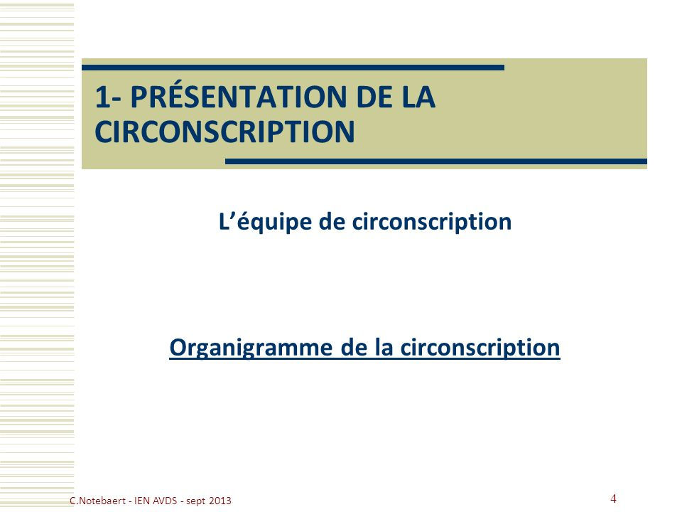 1- PRÉSENTATION DE LA CIRCONSCRIPTION Léquipe de circonscription Organigramme de la circonscription 4 C.Notebaert - IEN AVDS - sept 2013