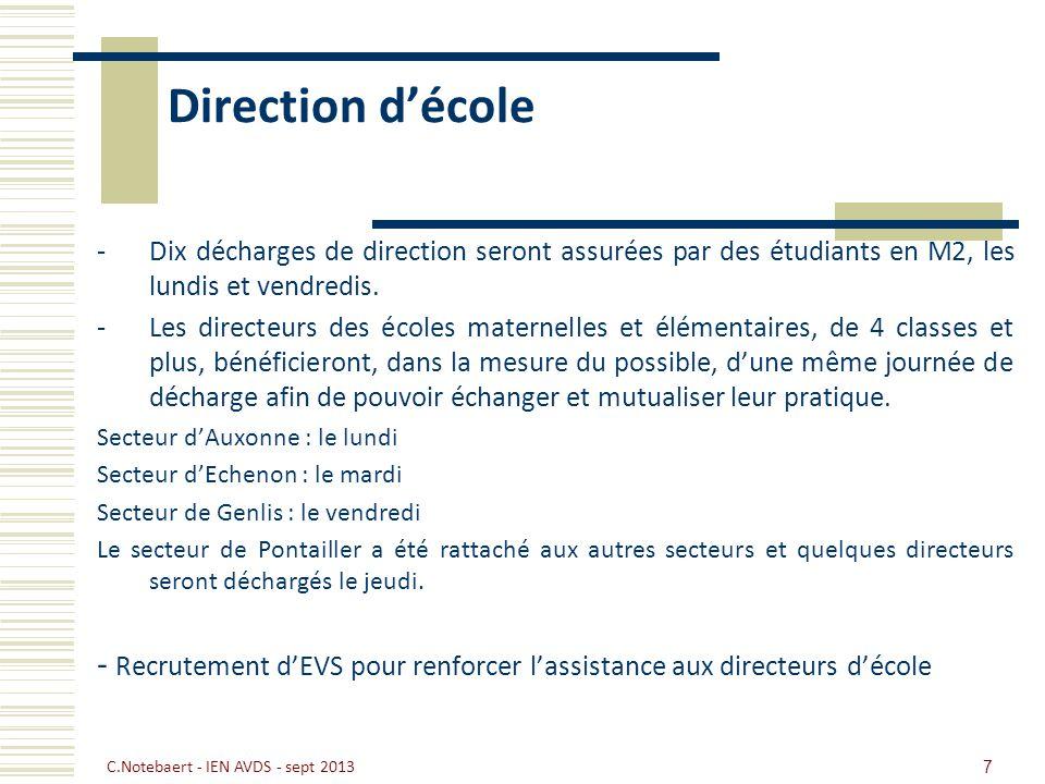 Direction décole -Dix décharges de direction seront assurées par des étudiants en M2, les lundis et vendredis. -Les directeurs des écoles maternelles