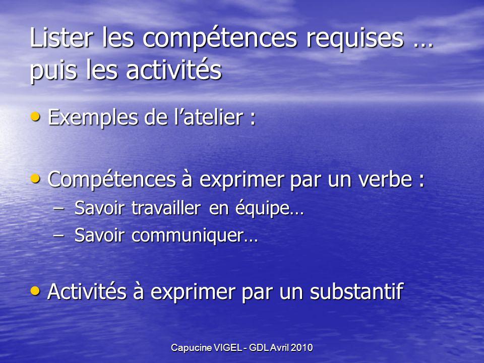 Capucine VIGEL - GDL Avril 2010 Lister les compétences requises … puis les activités Exemples de latelier : Exemples de latelier : Compétences à expri