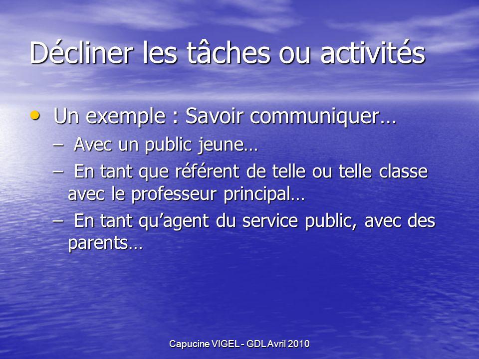 Capucine VIGEL - GDL Avril 2010 Décliner les tâches ou activités Un exemple : Savoir communiquer… Un exemple : Savoir communiquer… – Avec un public je