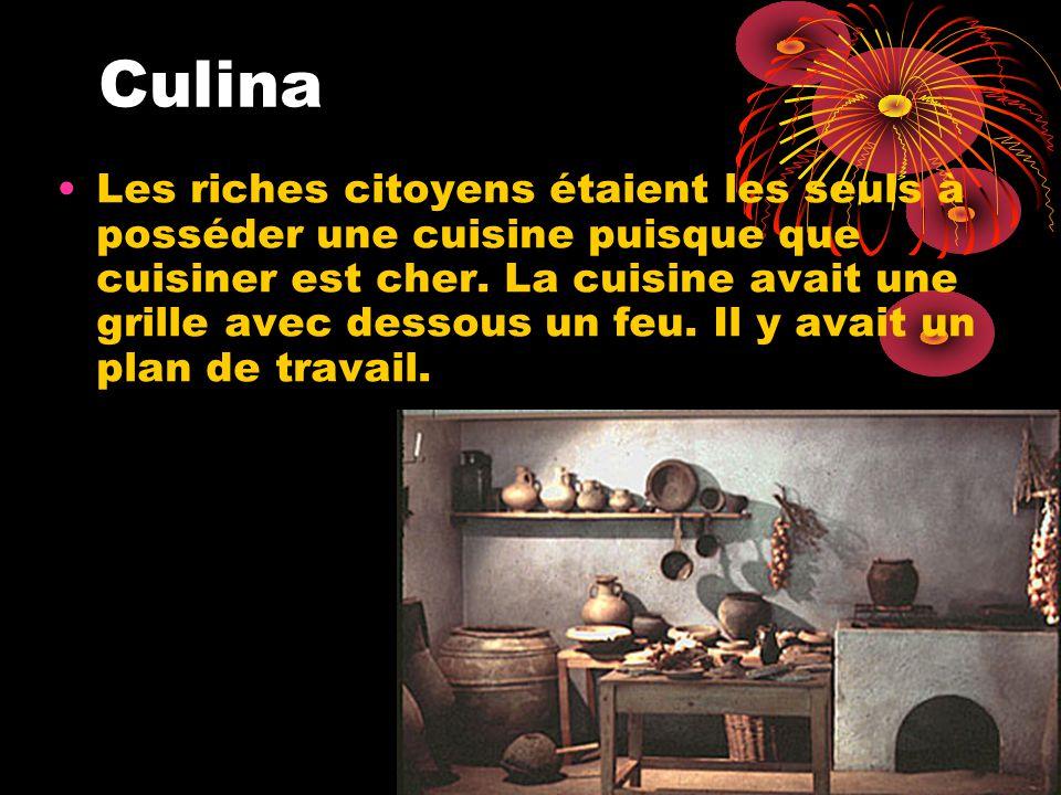 Culina Les riches citoyens étaient les seuls à posséder une cuisine puisque que cuisiner est cher.