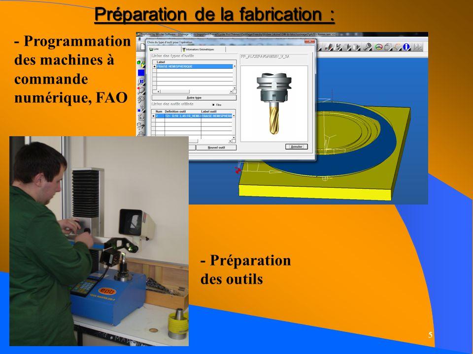 5 Préparation de la fabrication : - Programmation des machines à commande numérique, FAO - Préparation des outils