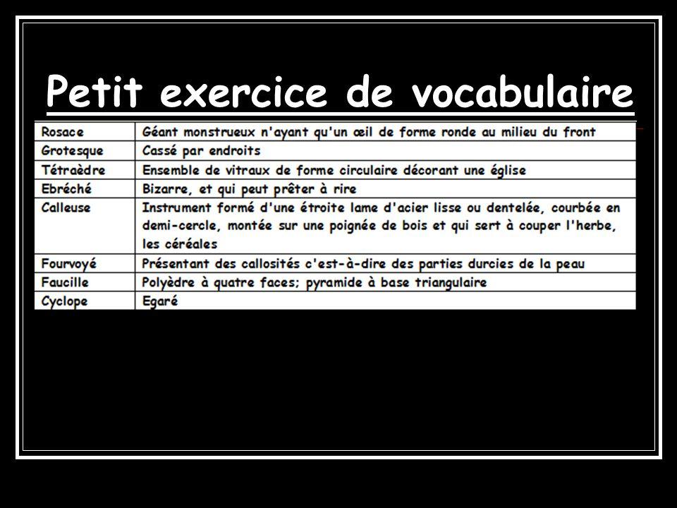 Petit exercice de vocabulaire