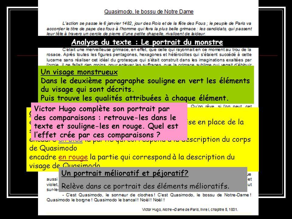Analyse du texte : Le portrait du monstre Comment sorganise le texte .
