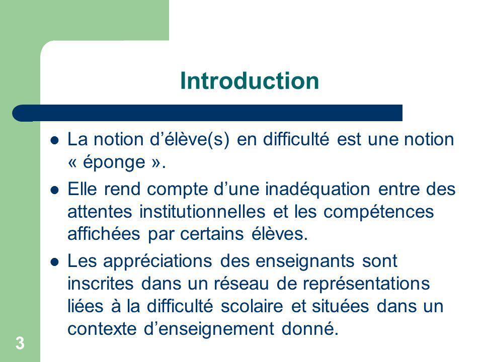 3 Introduction La notion délève(s) en difficulté est une notion « éponge ».