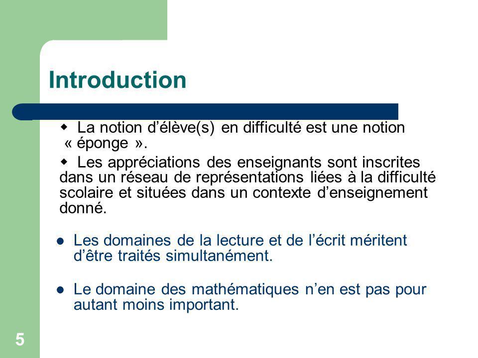 5 Introduction La notion délève(s) en difficulté est une notion « éponge ».