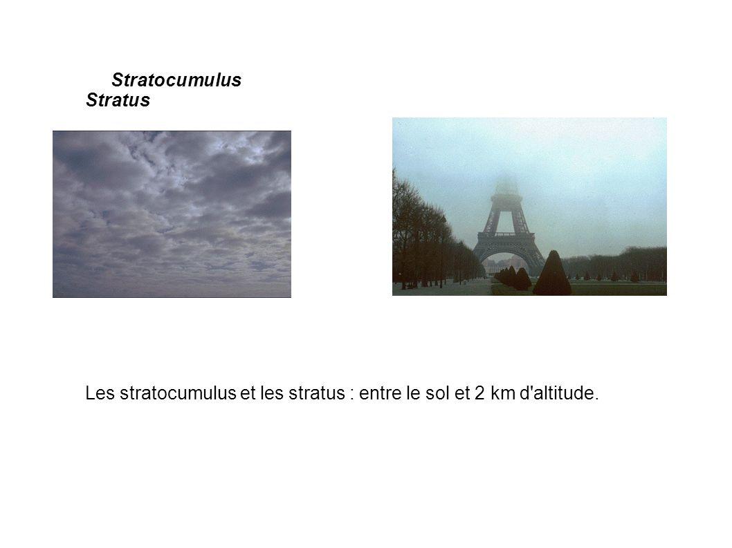 Stratocumulus Stratus Les stratocumulus et les stratus : entre le sol et 2 km d altitude.