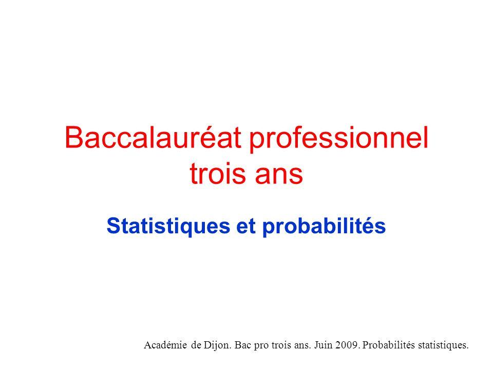 Baccalauréat professionnel trois ans Statistiques et probabilités Académie de Dijon.