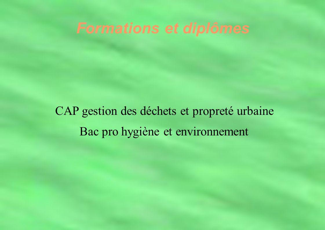 Formations et diplômes CAP gestion des déchets et propreté urbaine Bac pro hygiène et environnement Formations et diplômes CAP gestion des déchets et