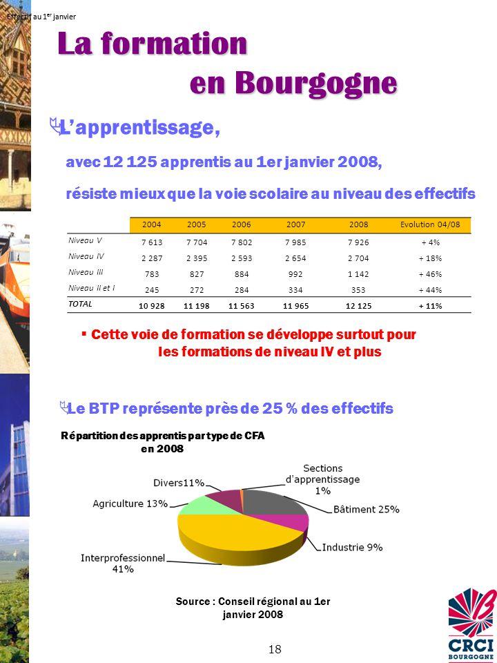 18 Source : Conseil régional au 1er janvier 2008 Répartition des apprentis par type de CFA en 2008 Le BTP représente près de 25 % des effectifs Lapprentissage, avec 12 125 apprentis au 1er janvier 2008, résiste mieux que la voie scolaire au niveau des effectifs Cette voie de formation se développe surtout pour les formations de niveau IV et plus La formation en Bourgogne Effectif au 1 er janvier 20042005200620072008Evolution 04/08 Niveau V 7 6137 7047 8027 9857 926+ 4% Niveau IV 2 2872 3952 5932 6542 704+ 18% Niveau III 7838278849921 142+ 46% Niveau II et I 245272284334353+ 44% TOTAL 10 92811 19811 56311 96512 125+ 11% Effectif au 1 er janvier