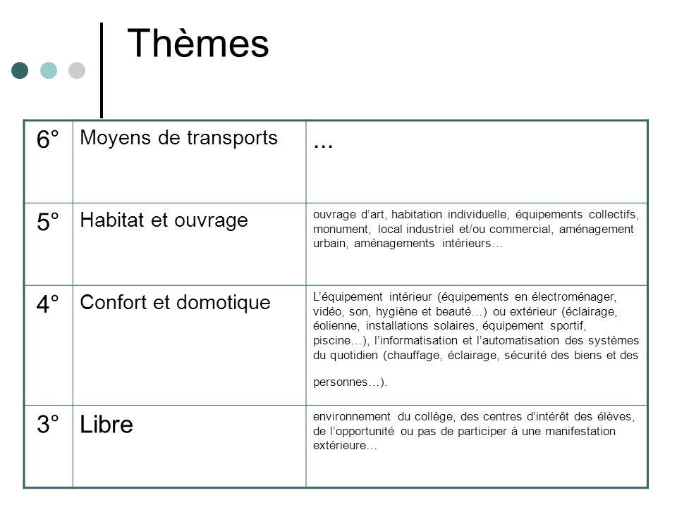 Thèmes 6° Moyens de transports... 5° Habitat et ouvrage ouvrage dart, habitation individuelle, équipements collectifs, monument, local industriel et/o