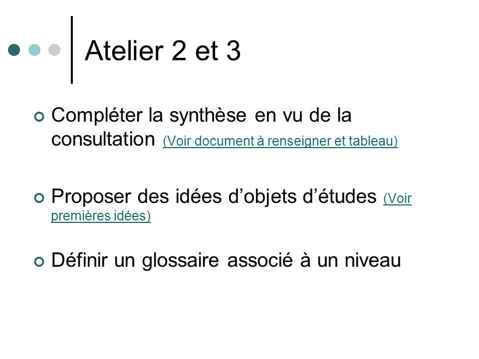 Atelier 2 et 3 Compléter la synthèse en vu de la consultation (Voir document à renseigner et tableau) (Voir document à renseigner et tableau) Proposer