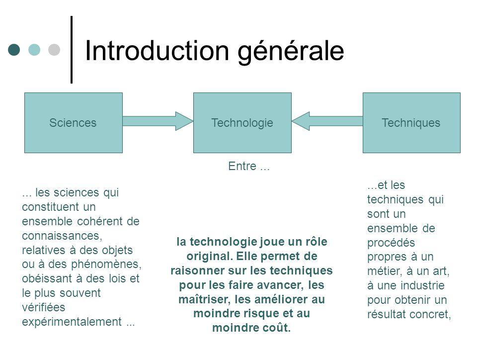 Introduction générale Technologie... les sciences qui constituent un ensemble cohérent de connaissances, relatives à des objets ou à des phénomènes, o