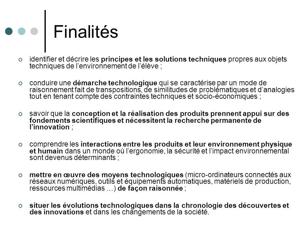 Finalités identifier et décrire les principes et les solutions techniques propres aux objets techniques de lenvironnement de lélève ; conduire une dém