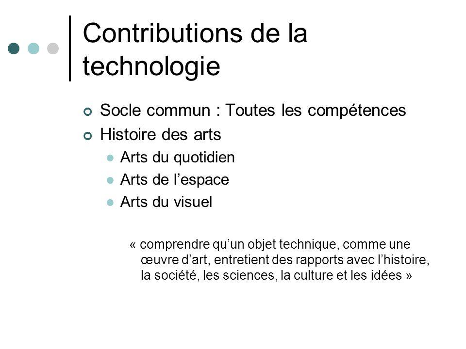 Contributions de la technologie Socle commun : Toutes les compétences Histoire des arts Arts du quotidien Arts de lespace Arts du visuel « comprendre