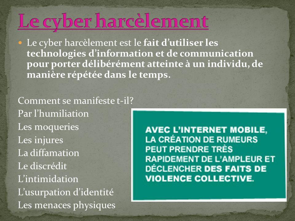 Le cyber harcèlement est le fait dutiliser les technologies dinformation et de communication pour porter délibérément atteinte à un individu, de maniè