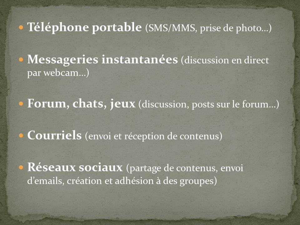 Téléphone portable (SMS/MMS, prise de photo…) Messageries instantanées (discussion en direct par webcam…) Forum, chats, jeux (discussion, posts sur le