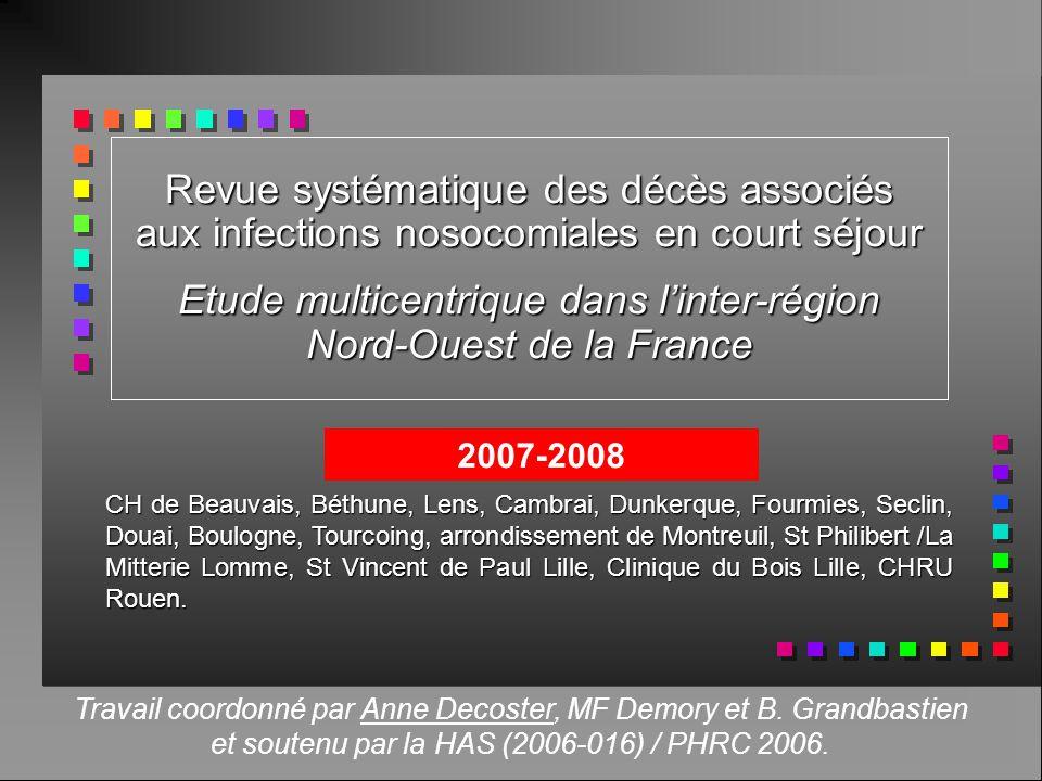 Revue systématique des décès associés aux infections nosocomiales en court séjour Etude multicentrique dans linter-région Nord-Ouest de la France CH d