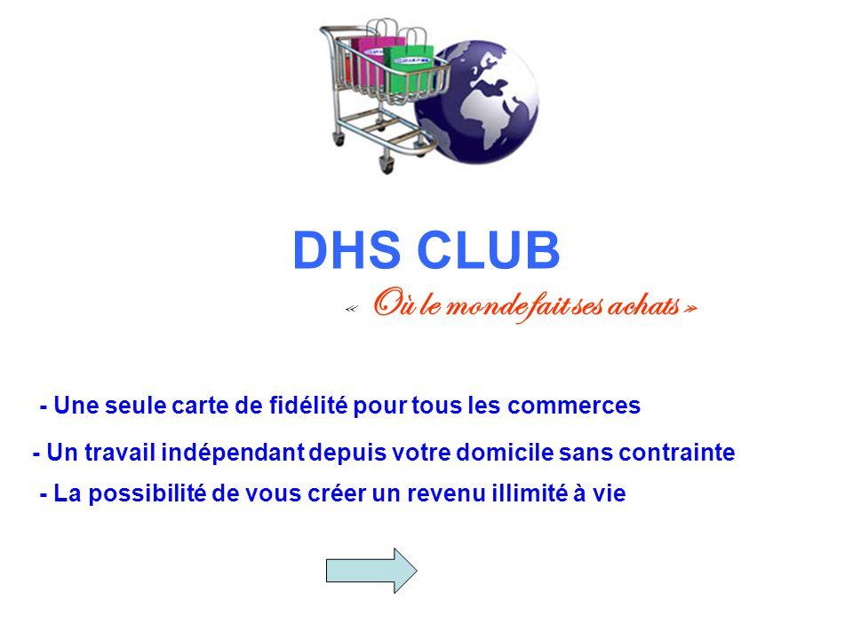 DHS CLUB « Où le monde fait ses achats » - Une seule carte de fidélité pour tous les commerces - Un travail indépendant depuis votre domicile sans con