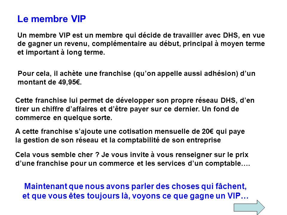 Le membre VIP Un membre VIP est un membre qui décide de travailler avec DHS, en vue de gagner un revenu, complémentaire au début, principal à moyen te