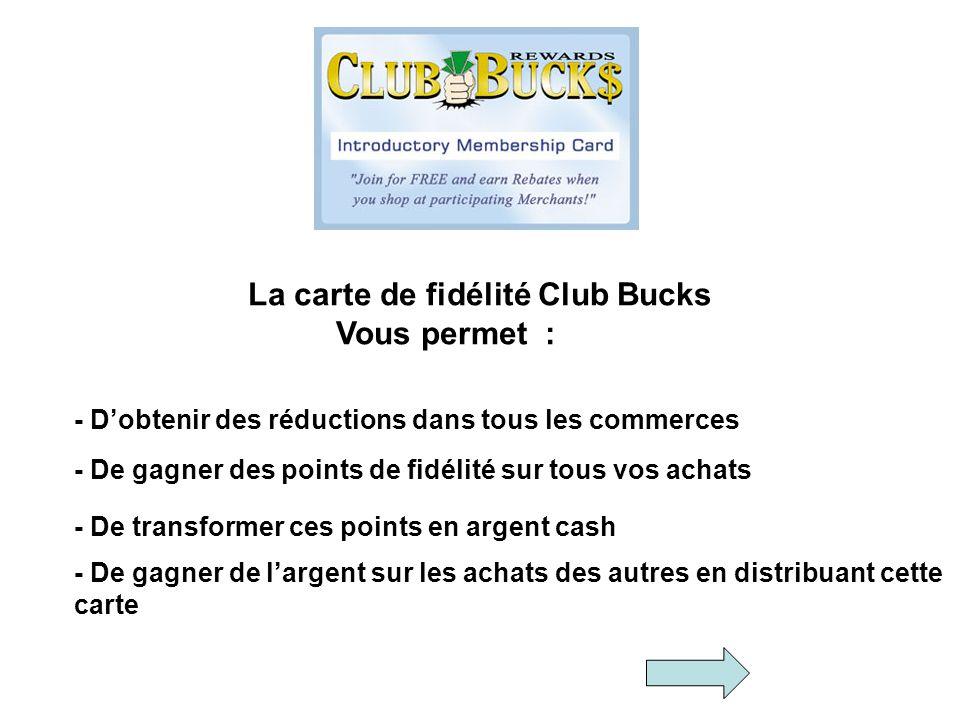 La carte de fidélité Club Bucks Vous permet : - Dobtenir des réductions dans tous les commerces - De gagner des points de fidélité sur tous vos achats