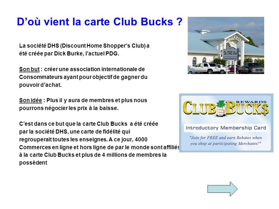 Doù vient la carte Club Bucks ? La société DHS (Discount Home Shoppers Club) a été créée par Dick Burke, lactuel PDG. Son but : créer une association