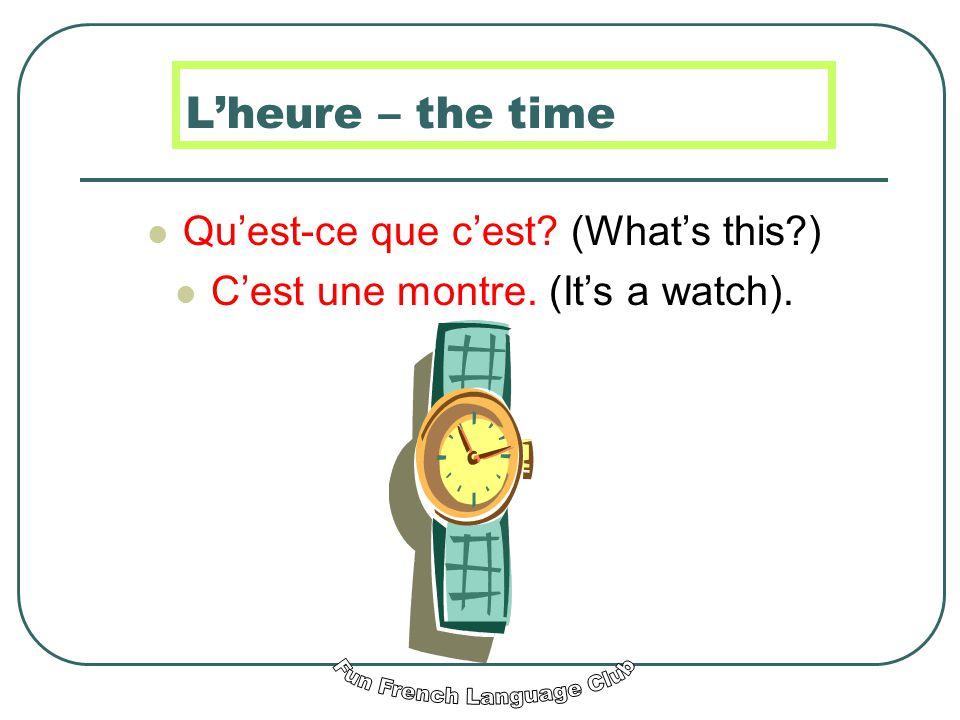 Quest-ce que cest? (Whats this?) Cest une pendule. (Its a clock).