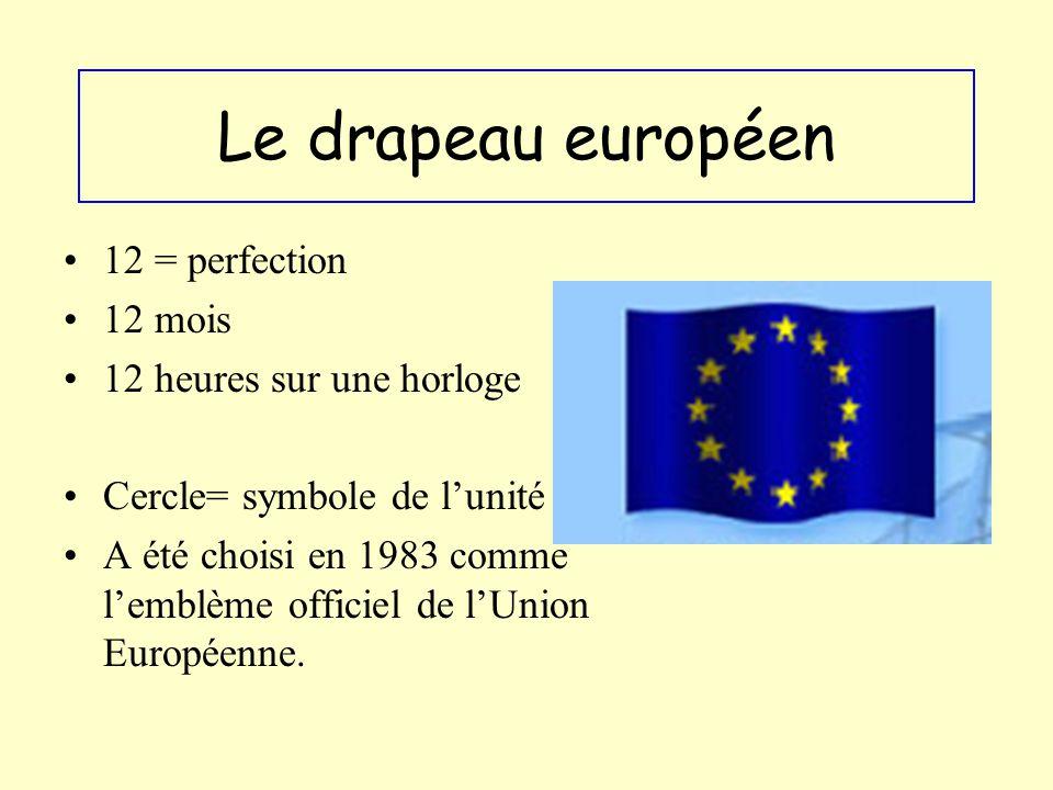 Le drapeau européen 12 = perfection 12 mois 12 heures sur une horloge Cercle= symbole de lunité A été choisi en 1983 comme lemblème officiel de lUnion