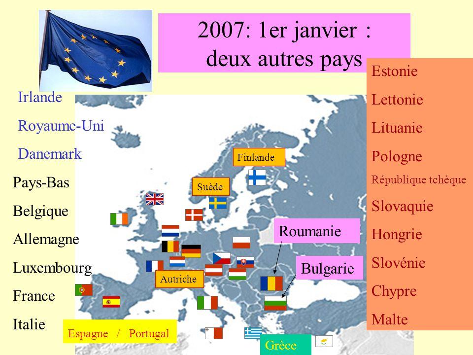 2007: 1er janvier : deux autres pays Grèce Roumanie Irlande Royaume-Uni Danemark Pays-Bas Belgique Allemagne Luxembourg France Italie Espagne / Portug