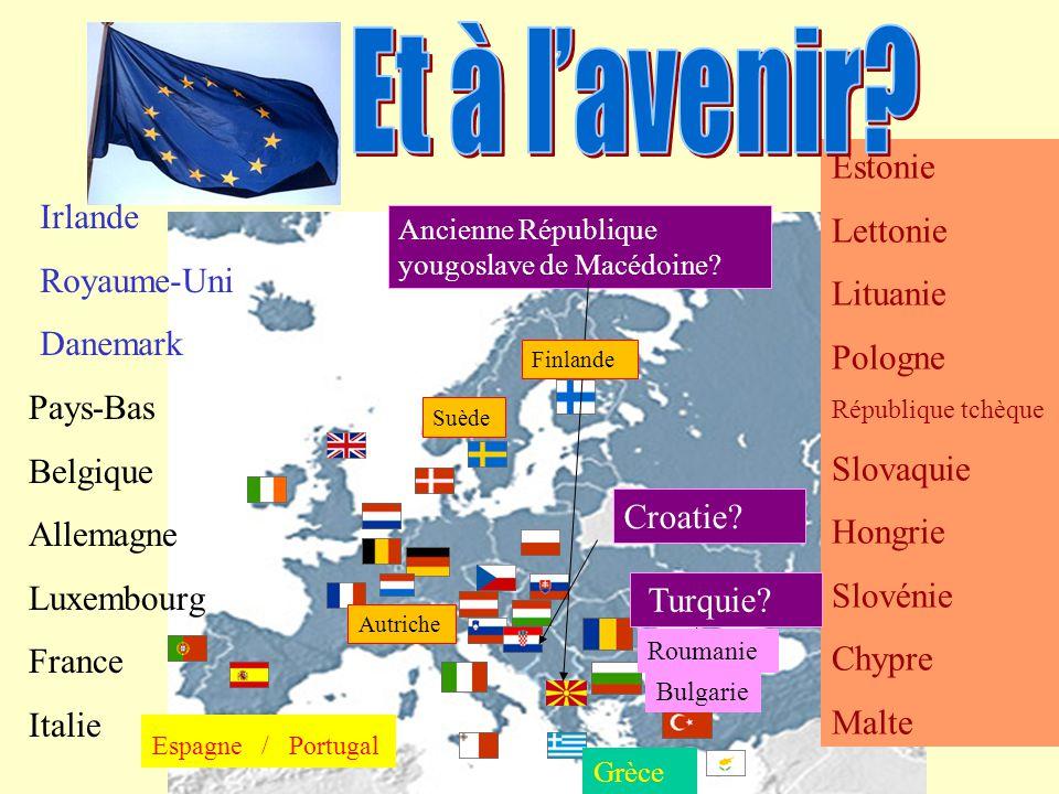 Grèce Irlande Royaume-Uni Danemark Pays-Bas Belgique Allemagne Luxembourg France Italie Espagne / Portugal Estonie Lettonie Lituanie Pologne Républiqu