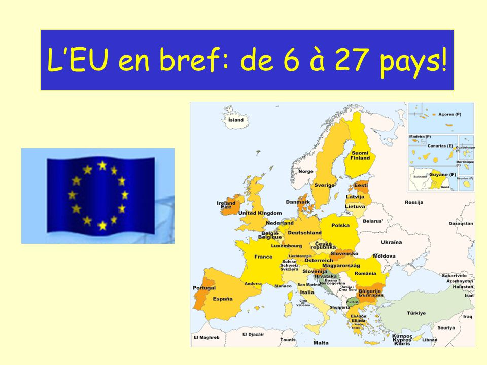 1957: 6 membres de Communauté Européenne Économique Pays-Bas Belgique Allemagne Luxembourg France Italie