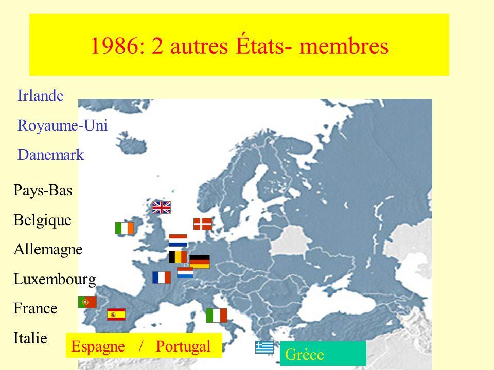 Greece 1990: Réunification allemande Irlande Royaume-Uni Danemark Pays-Bas Belgique Allemagne Luxembourg France Italie Espagne / Portugal