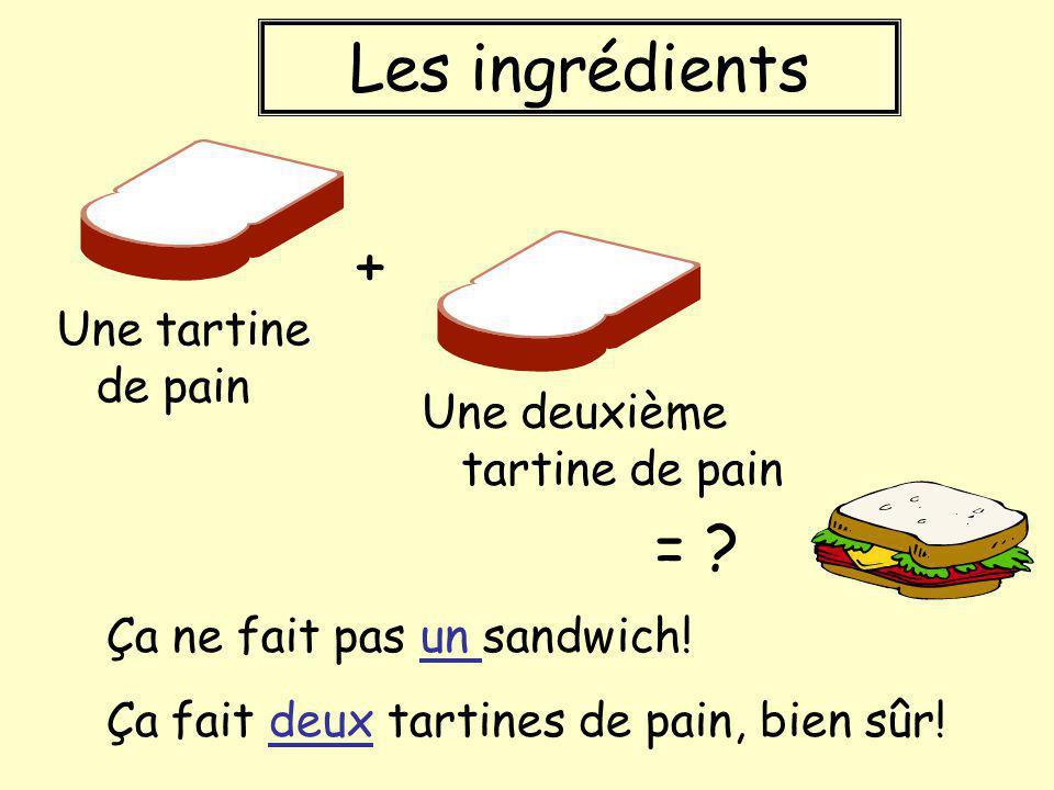 Les ingrédients Une tartine de pain Une deuxième tartine de pain Ça ne fait pas un sandwich! Ça fait deux tartines de pain, bien sûr! + = ?