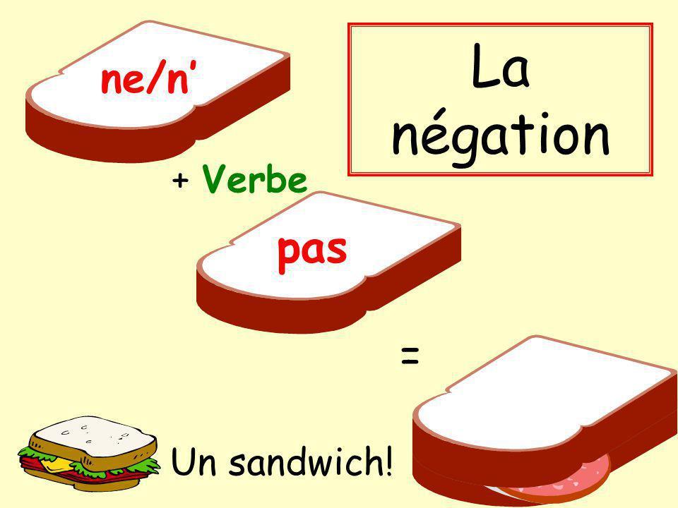 + Verbe pas ne/n = La négation Un sandwich!