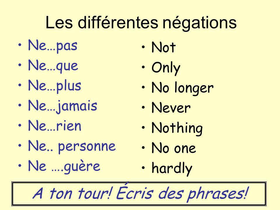 Les différentes négations Ne…pas Ne…que Ne…plus Ne…jamais Ne…rien Ne.. personne Ne ….guère Not Only No longer Never Nothing No one hardly A ton tour!