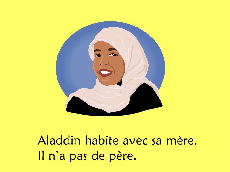 Aladdin et sa mère nont pas dargent. Il sont très pauvres. x