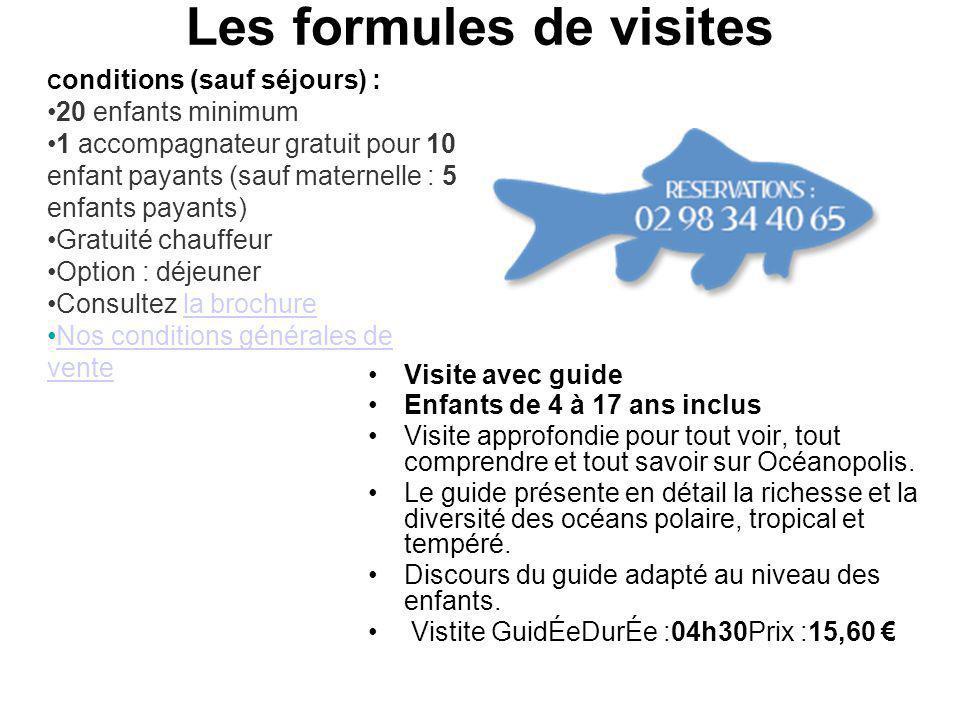 Les formules de visites Visite avec guide Enfants de 4 à 17 ans inclus Visite approfondie pour tout voir, tout comprendre et tout savoir sur Océanopolis.