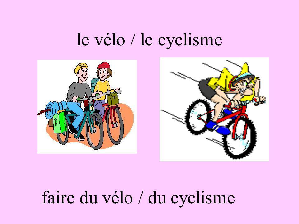 le vélo / le cyclisme faire du vélo / du cyclisme