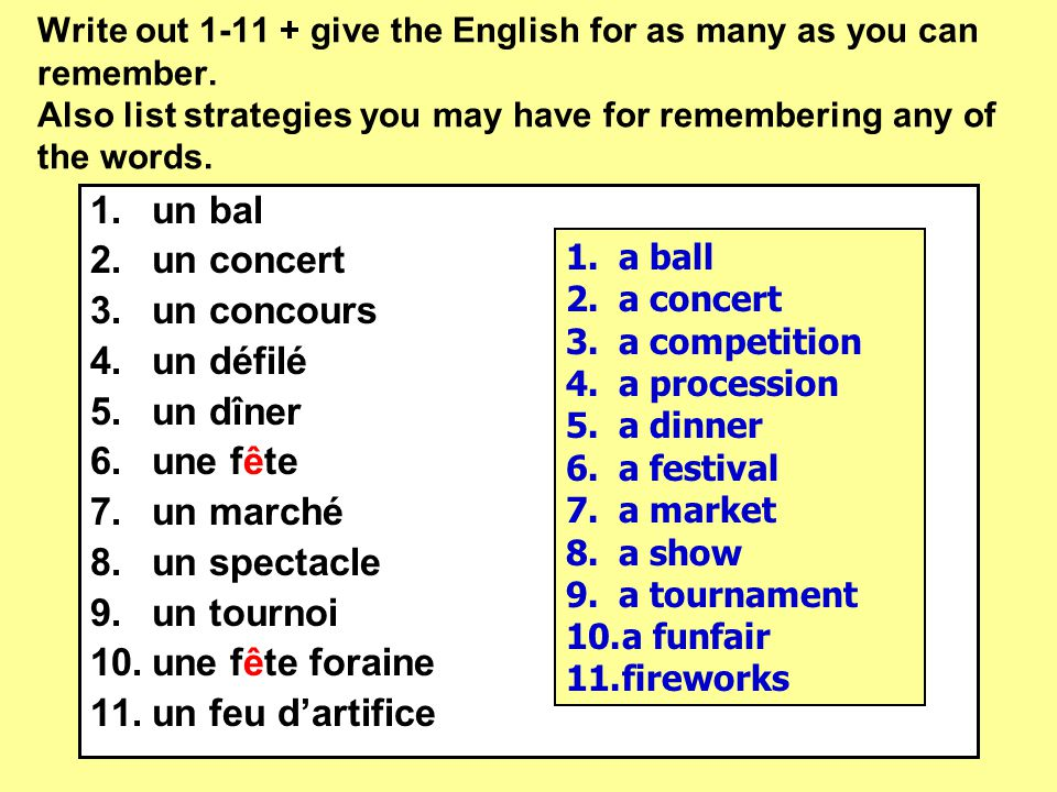 Write out 1-11 + give the English for as many as you can remember.